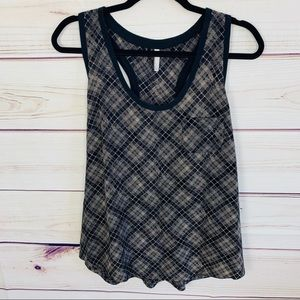Joie Alicia silk plaid tank with pocket nwot